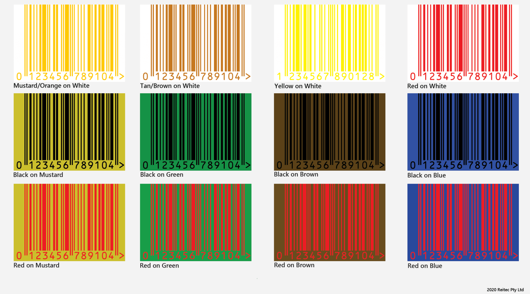 Not recommended colours for EAN-13 Barcode Printing