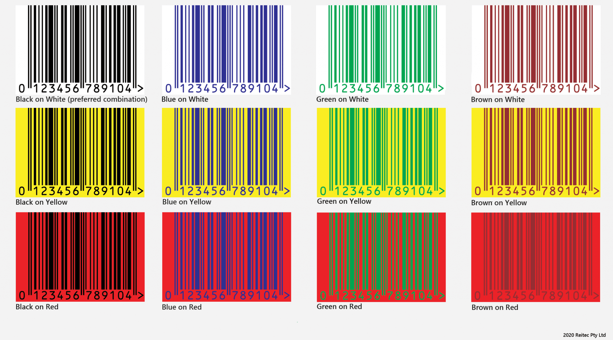 Recommended colours for EAN-13 Barcode Printing